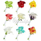 Calla Lily Brooch Artificial Flower Boutonniere Wedding Bridal Groom Decorations