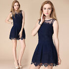 Fashion Women Lace Sleeveless Bodycon Evening Party Short Mini Dress S/M/L