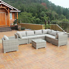 3 9PCS Patio Rattan Sofa Furniture Set Infinitely Combination PE Wicker Outdoor