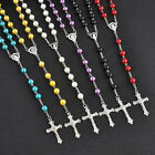 Women Rosary Beads Pearls Cross Pendant Long Beaded Necklace Chain Vintage