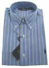 POLO RALPH LAUREN Mens Classic Fit Blue Pink Stripe Cotton Dress Shirt $85