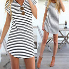 New Women Girls Striped Shirt Casual O-Neck Short Sleeve Loose T-Shirt tb