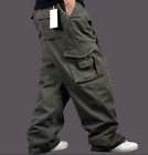 Men's Casual Baggy Cargo Overalls Military Trousers Pants Loose Multi Pockets