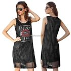 Women Fashion Casual Loose Round Neck Sleeveless Side Split Hollow N4U8
