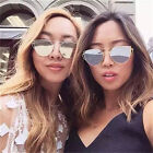 Womens Large Oversized Cat Eye Sunglasses Fashion Flat Lens Mirrored Metal Frame