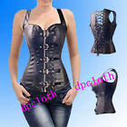 Sexy Retro Goth Leather Cincher Steampunk Corsets Bustiers Black Large Size 6XL