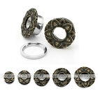 Bronze 8-16mm Stainless Steel Screw Ear Tunnel Plugs Expander Stretcher Earrings