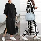 Women Loose Batwing Long Sleeve Striped Long Sleeve Maxi Long Shirt Dress Tops