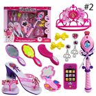 New Kids Toys Set Girls Make Up Dress-Up Cosmetic Hair Dryer Crown Pretend Play