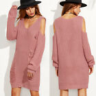 Women's Long Sleeve Knitted Hollow Pullover Loose Jumper Sweater Top Mini Dress