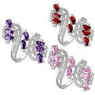 Hot Luxury Women Silver Plated Jewelry Crystal Rhinestone Ring US Size 6 7 8 9