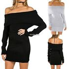 Womens Sexy Off Shoulder Long Sleeve Pencil Bodycon Knitted Sweater Dress N4U8
