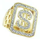 Dollar Sign Bling Tutone Gold Plated Clear Stones Mens Ring