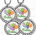 "It's my Birthday Age Balloons Kids Bottle Cap Necklace with 24"" Chain"