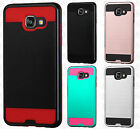 For Samsung Galaxy A5 Brushed Metal HYBRID Rubber Case Phone Cover +Screen Guard