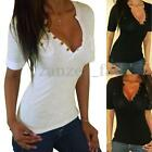 UK 8-20 Women V-Neck Plunge Short Sleeve T-shirt Bodycon Casual Tops Shirt Tee