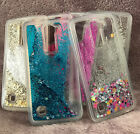For LG Treasure Tracfone - HARD + TPU RUBBER Glitter Liquid Waterfall Case Cover