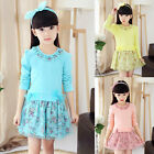 Kids Baby Girls Cotton Long Sleeve Flower Princess Dress Lace Skirt Tops Clothes