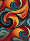 Multi-Color Transitional Casual Abstract Curves Swirls Curls Waves Area Rug