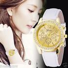 Fashion Women's Crystals Leather Band Stainless Steel Quartz Analog Wrist Watch