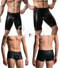 Men Lingerie Patent Leather Boxers Briefs Bikini Open Butt Underwear Underpants