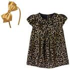 New Gymboree Girl City Kitty Leopard Print Jacquard Dress & Bow Headband Size 3T