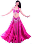 New Professional Belly Dance Costume 3 Pics Bra&Belt&Skirt 34B/C 36B/C 10Colors