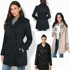 Womens Classic Vintage Tailored Double Breasted Trench Mac Coat Ladies Jacket