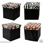 Folding Home Storage Pouffe Ottoman Foot Stool Box Seat Cube Toy Chest New