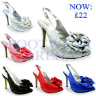 New Ladies Bridal Party Evening Prom Wedding Satin Sandals Size UK 3 4 5 6 7 8