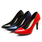 Women's Pointed Shoes Shiny Synthetic Leather High Heel Party Pumps UK Size s718