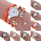 Stylish Women's Fashion Ladies Faux Leather Rhinestone Analog Quartz Wrist Watch