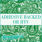 Kelly Green & White Paisley Pattern Adhesive Vinyl or HTV for Crafts or Shirts