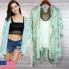 New Womens Floral Print Chiffon Loose Shawl Kimono Cardigan Top Cover up Blouse