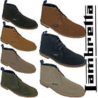 Lambretta Desert Leather Ankle Boots Mens Carnaby 3 Eye Lace Suede Round Toe