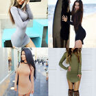 Women Long Sleeve Bodycon Bandage Clubwear Evening Party Short Mini Dresses Gown