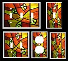 ABSTRACT  ORANGE STAINED GLASS INSPIRED LIGHT SWITCH COVER PLATE    MADE IN USA
