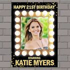 Personalised Gold Light up Frame Style Happy Birthday Poster Banner N145 ANY AGE