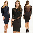 Women Sheer Lace Long Sleeve Bodycon Bandage Evening Cocktail Bodycon Mini Dress