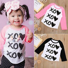 Fashion Kids Toddler Baby Tops XO Heart Long Sleeve T-shirt Tees Clothes