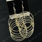 3-12Pairs Fashion Big Round Women Long Gold Drop Earrings Wholesale Jewelry Lots