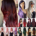 black hair with ombre red - Long Hair Ombre Two Tone Black Red Green Purple Pink White Full Wig With Bangs H
