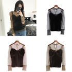 Women 2 Pieces Set See Through Stand Collar Shirt Camis Crop Top Sexy Casual