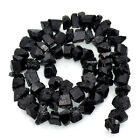 Natural Black Tourmaline Gemstone Rough Raw Rock Freeform Nugget Loose Beads 16""
