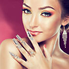 Fashion Women Silver Gold Plated Nail Ring Crown Flower Crystal Finger Nail Ring