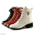 Women's Mid Cuban Heel Boots Lace Ups Men's Synthetic Leather Shoes UK Size O422