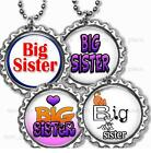 """Big Sister Children's Bottle Cap Necklace 24"""" Chain New Baby Family Jewelry"""