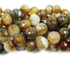 Dark Brown Striped Agate Faceted Gemstone Beads~Guaranteed