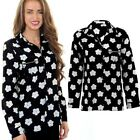 Ladies Long Sleeve Floral Print Collared Casual Party Women's Black Blouse Top