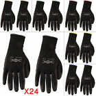24 PAIRS BLACK WORK GLOVES NEW PU COATED BUILDERS MECHANIC CONSTRUCTION GRIP